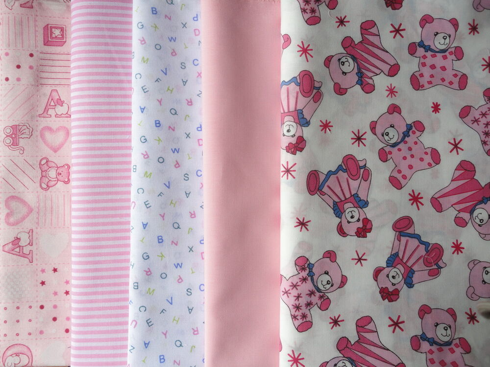 Baby fabric fat quarters bundle of 5 pinks ebay for Baby fabric uk