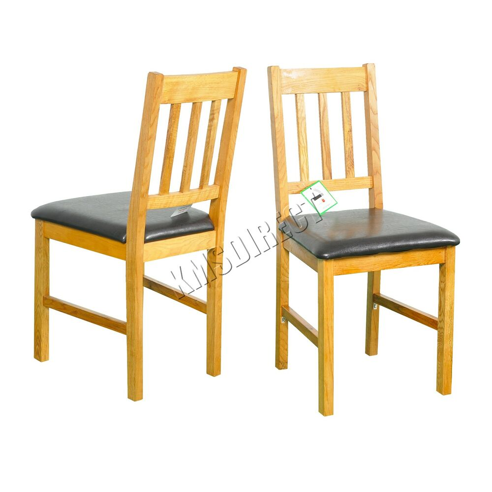 Foxhunter solid wooden oak dining chair set with pu
