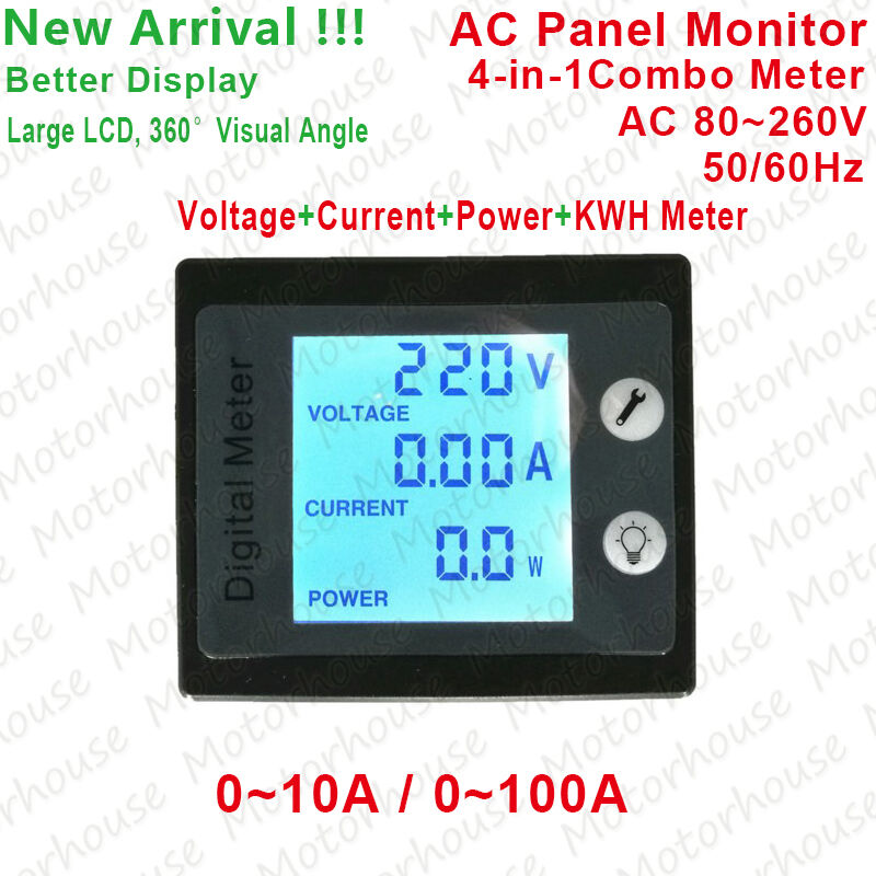 Lcd Panel Meter : Ac v digital lcd a watt power meter volt amp