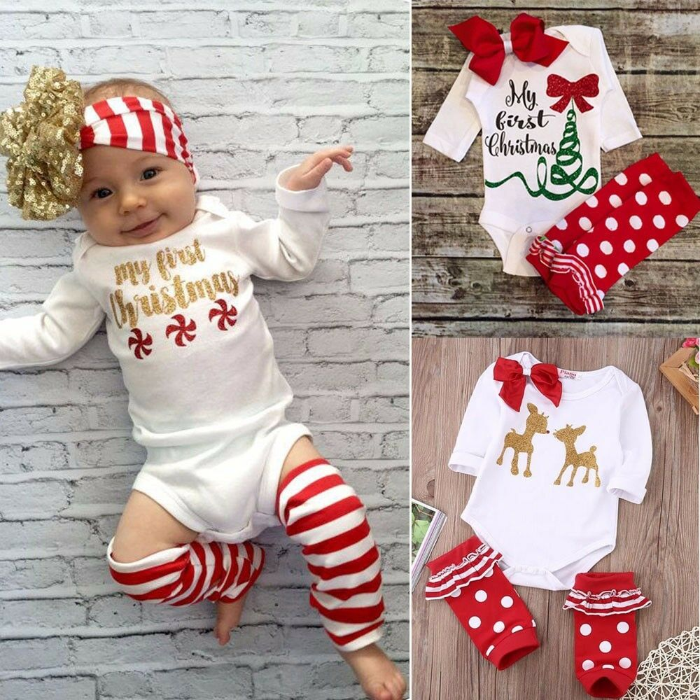 BABY FIRST CHRISTMAS Outfit Boys Girls Bodysuit Ruffle Leg ...