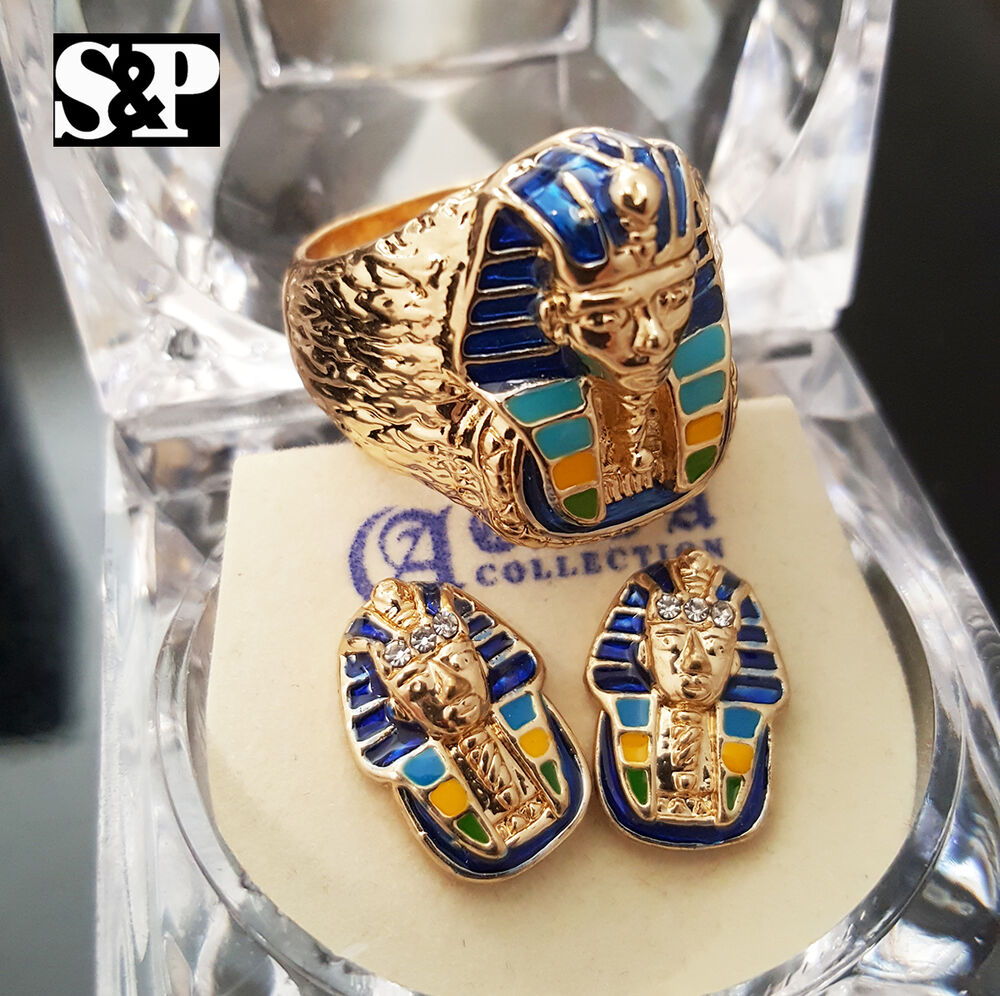 Men Iced Out Hip Hop Rapper Pharaoh King Tut Pyramid