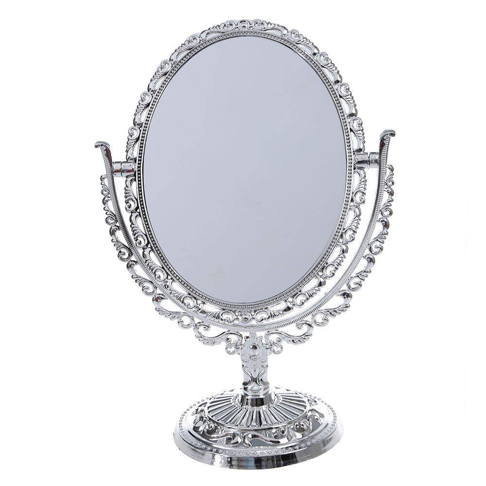 silver vanity make up cosmetic table bathroom mirror on foot stand dt ebay. Black Bedroom Furniture Sets. Home Design Ideas