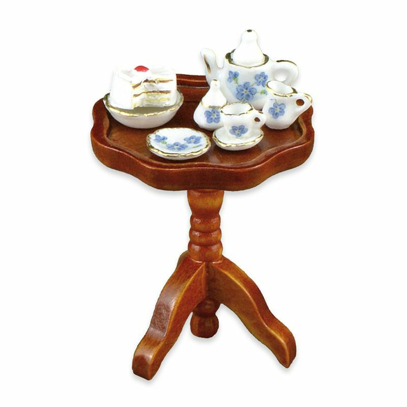 Dollhouse Miniature 1:12 Occasional Table W/Tea Set By