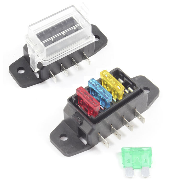 Fuse Box 4 Way For Standard Blade Fuses Ato Holder    Block