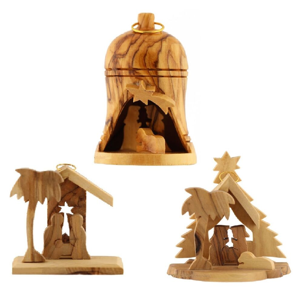 3 Nativity Ornaments Olive Wood Christmas Decoration Bell