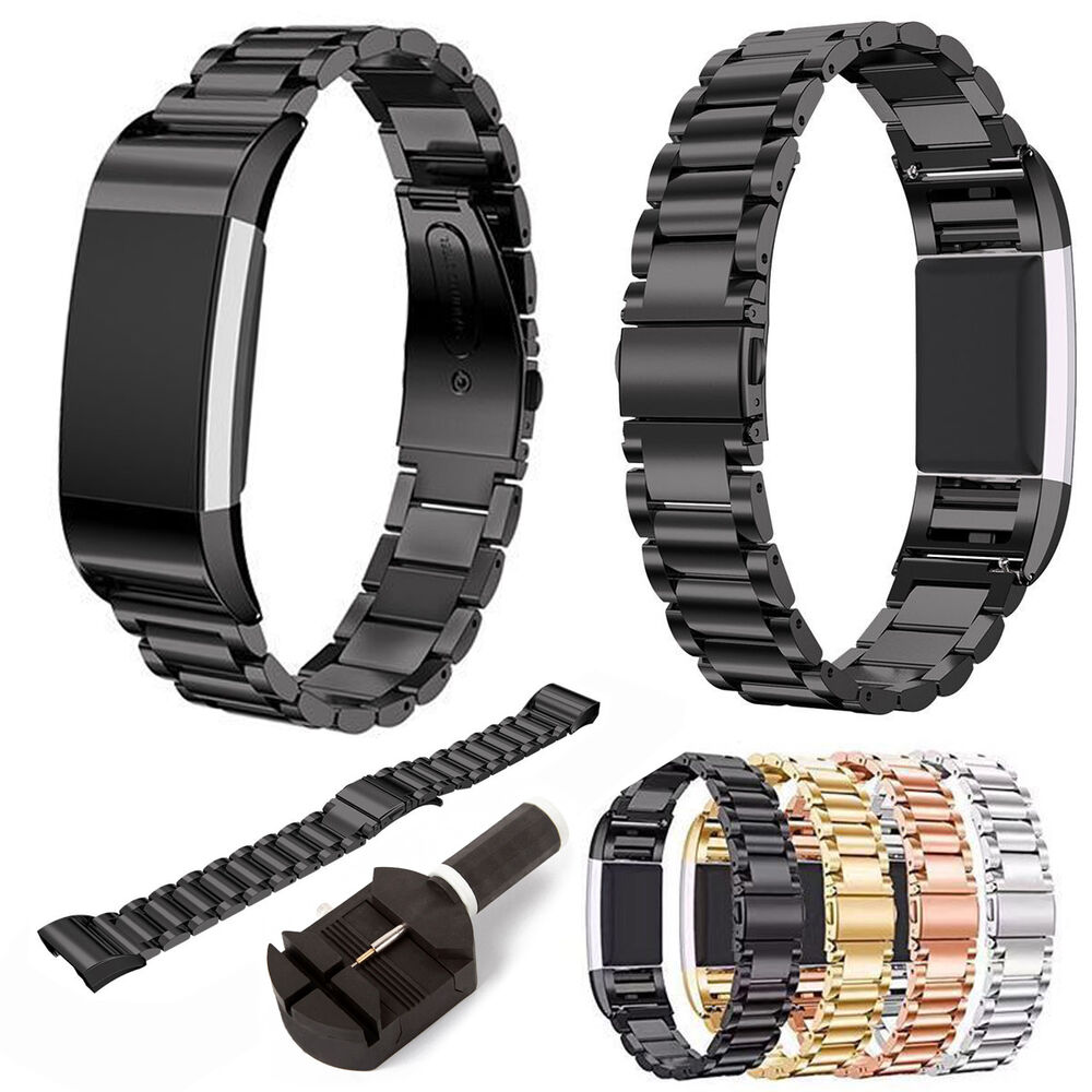for fitbit charge 2 band luxury metal watch wrist band strap clasp bracelet ebay. Black Bedroom Furniture Sets. Home Design Ideas