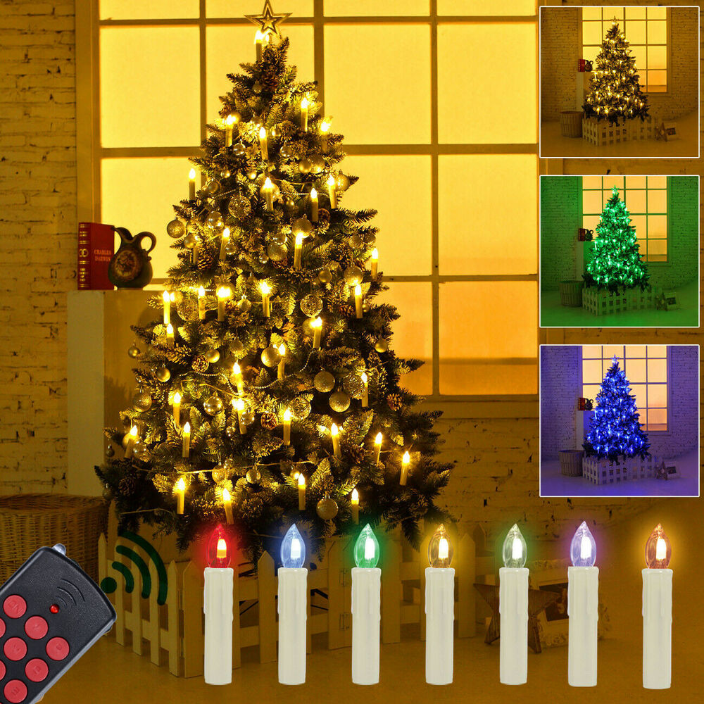 50 kabellose led weihnachtskerzen weihnachtsbaum beleuchtung kerzen lichterkette ebay. Black Bedroom Furniture Sets. Home Design Ideas