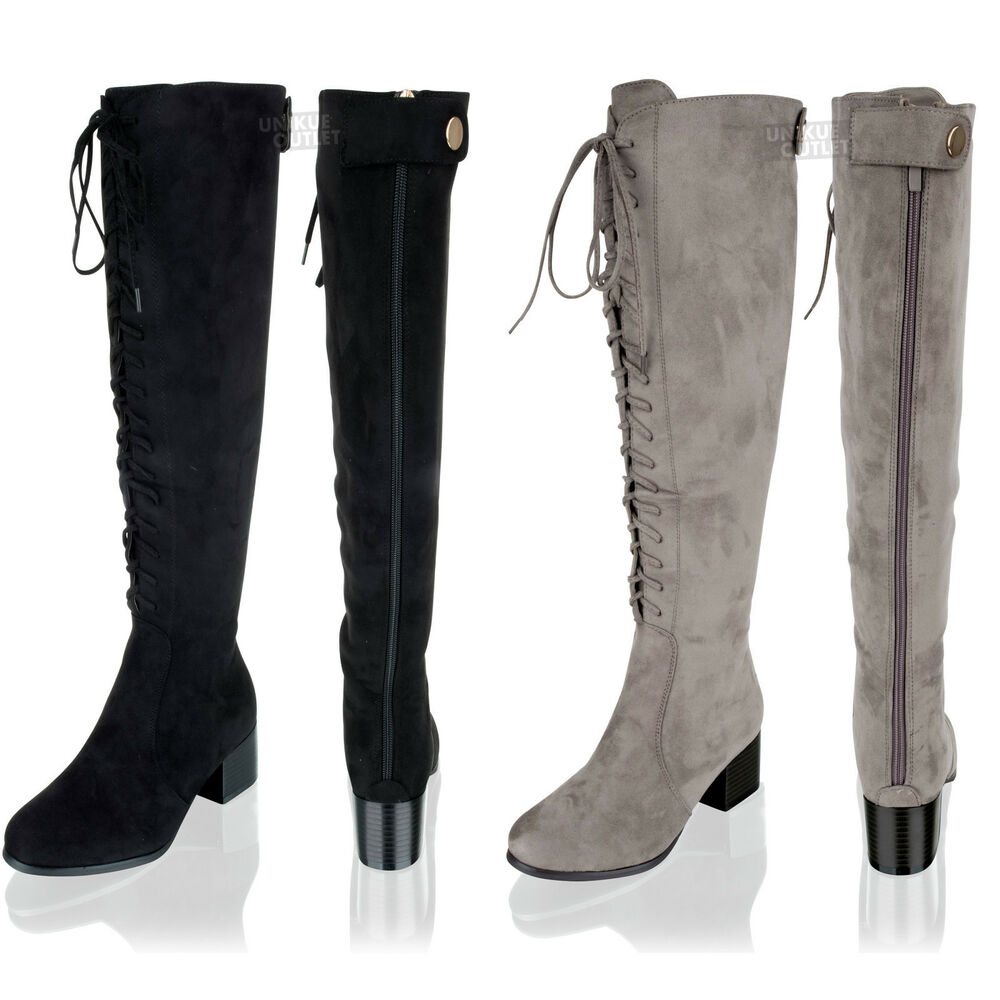 new womens knee high lace up suede wide calf mid