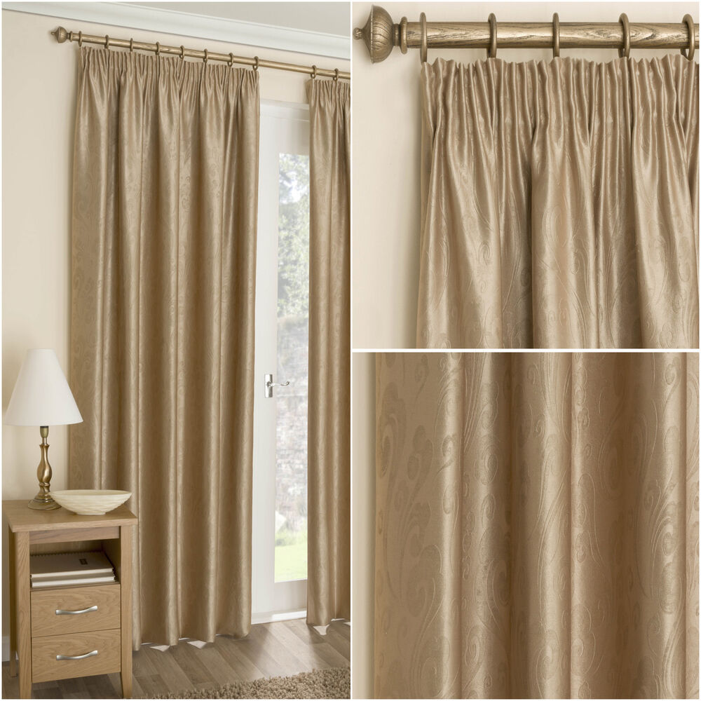 Corby Gold 3 Tape Top Pencil Pleat Thermal Blackout Ready Made Lined Curtain Ebay
