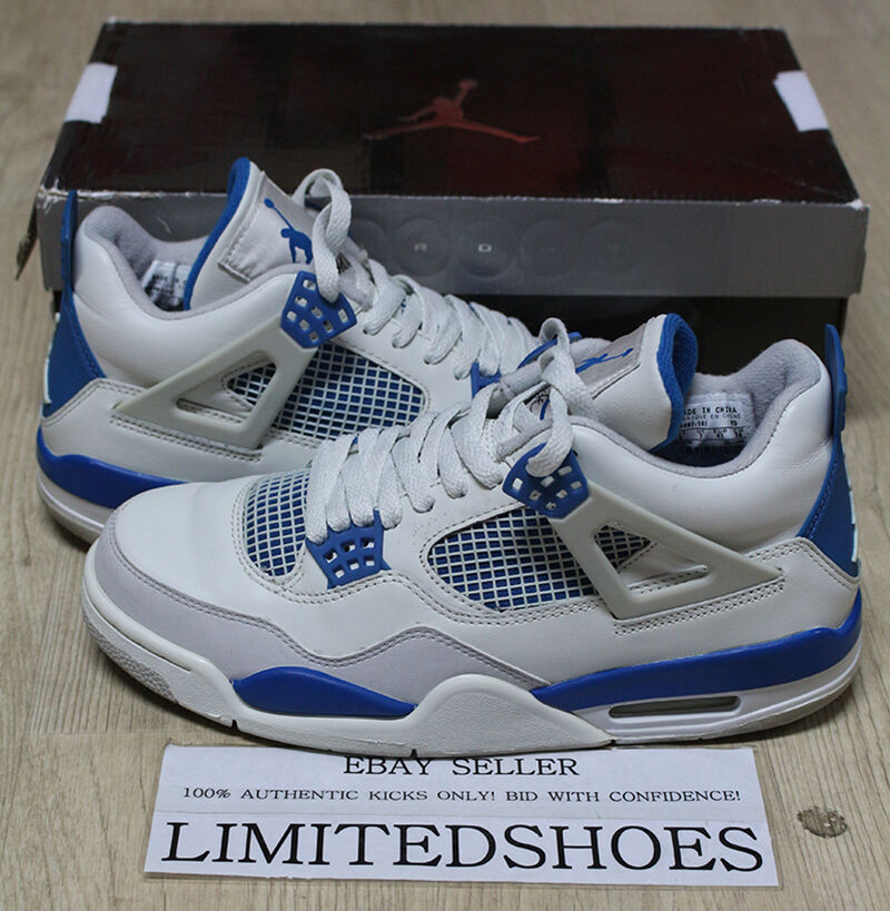 sports shoes 26f93 a3530 NIKE AIR JORDAN 4 IV RETRO MILITARY BLUE WHITE US 8 fire red thunder bred  cement   eBay