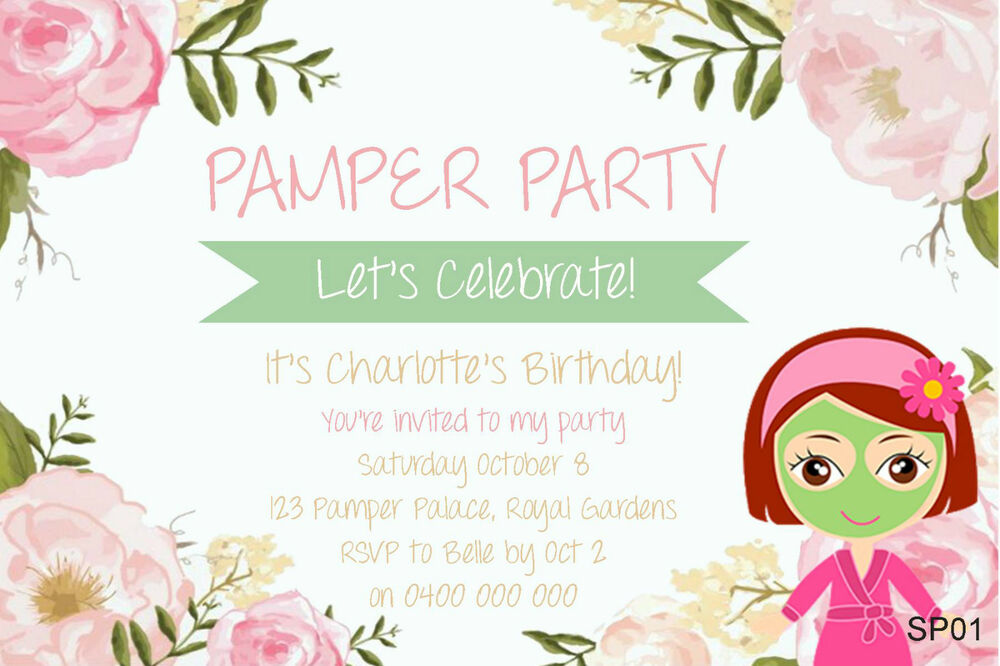 Personalised PAMPER PARTY INVITATIONS Girls Slumber Spa Birthday ...