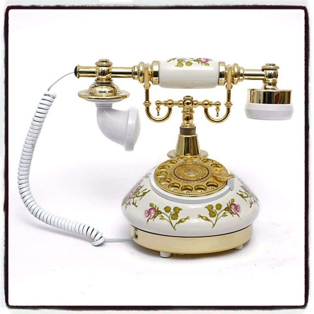 vintage rotary telephone retro dial desk white decorative home living room ebay. Black Bedroom Furniture Sets. Home Design Ideas