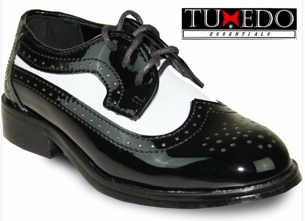 New Boys Two Tone Black White Classic Wing Tip Lace Up