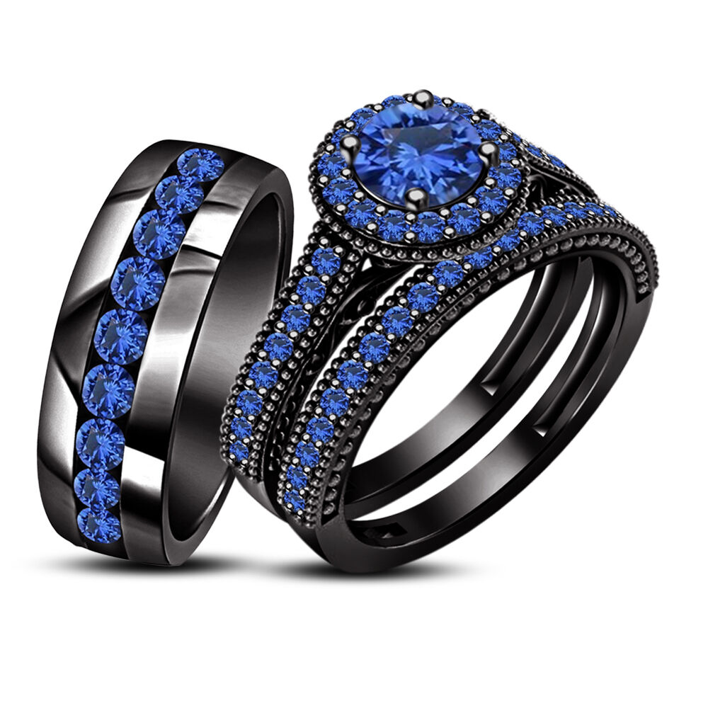 3 ct sapphire and 14k black gold fn engagement wedding for Sapphire engagement ring and wedding band set