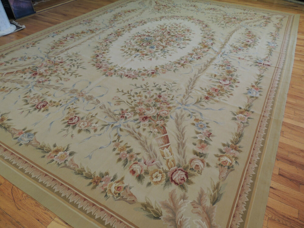 Brilliant Large French Aubusson Style Area Rug 10x14