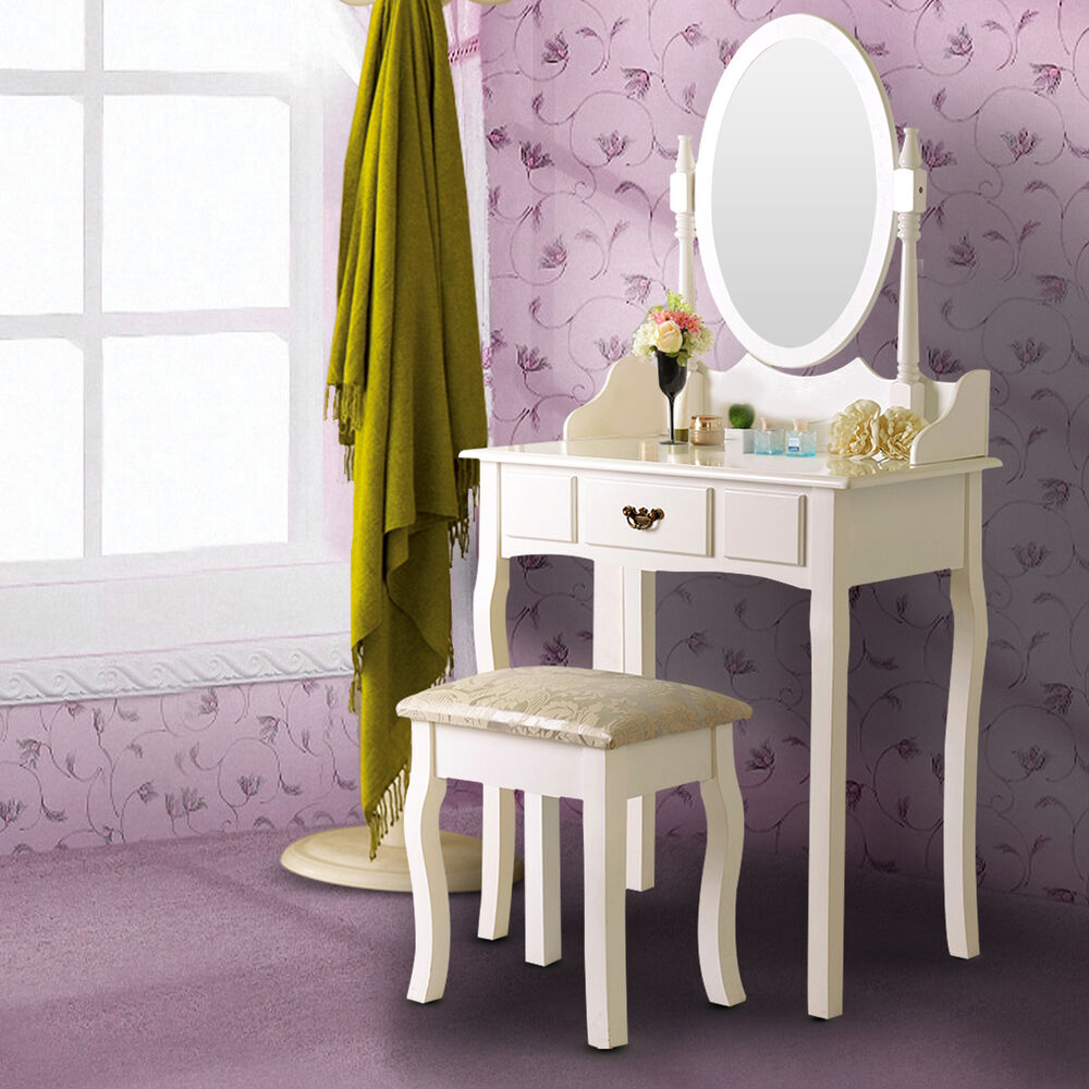 white makeup dressing table stool vanity mirror set wood