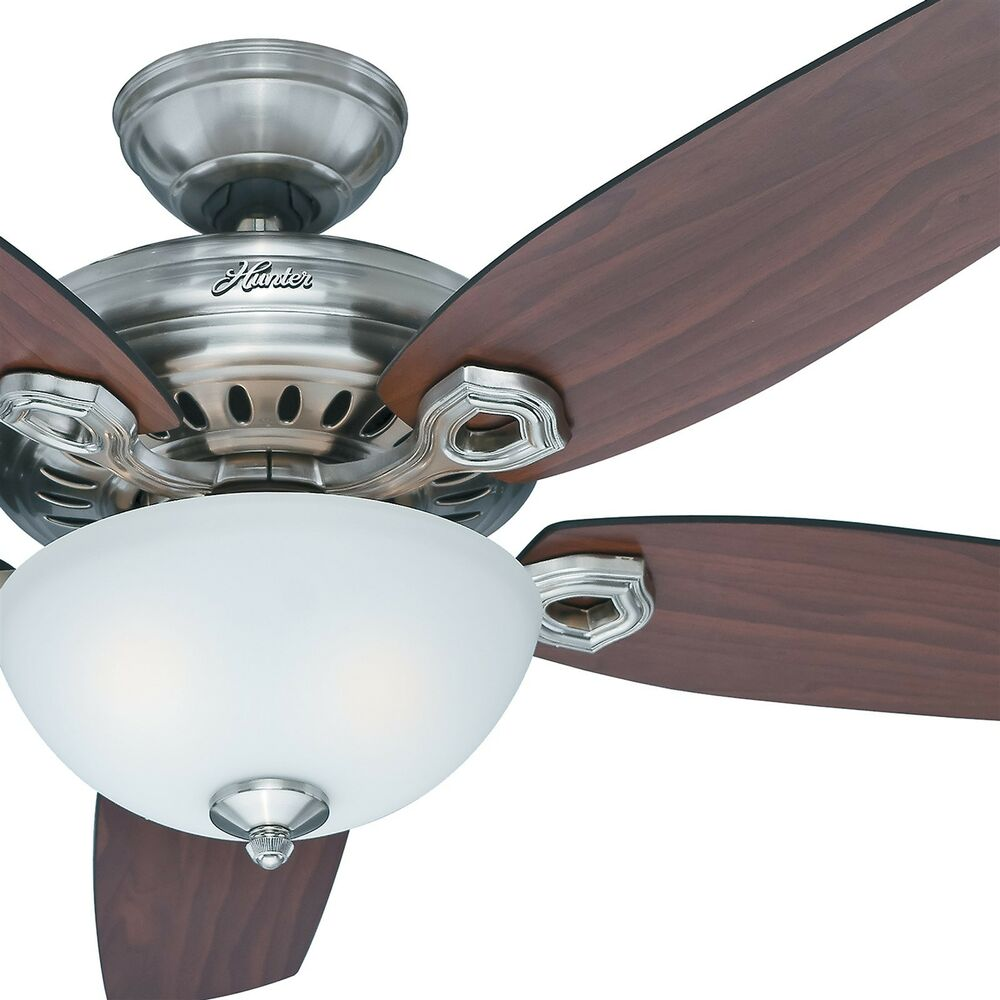 54 hunter fan brushed nickel ceiling fan with light kit and remote control ebay. Black Bedroom Furniture Sets. Home Design Ideas