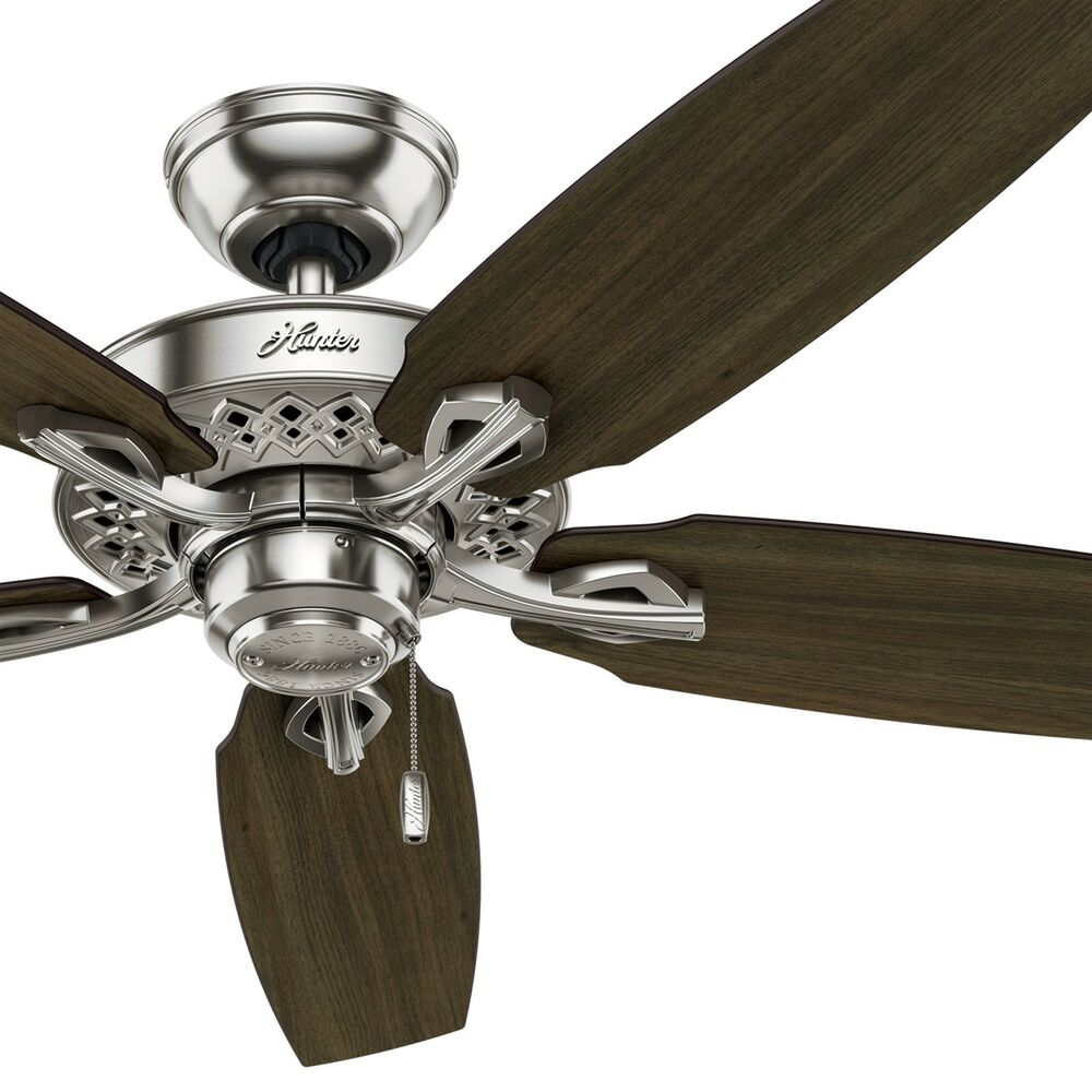 52 Quot Hunter Ceiling Fan Brushed Nickel Walnut Cherry Reversible Fan Blades 840304129744 Ebay