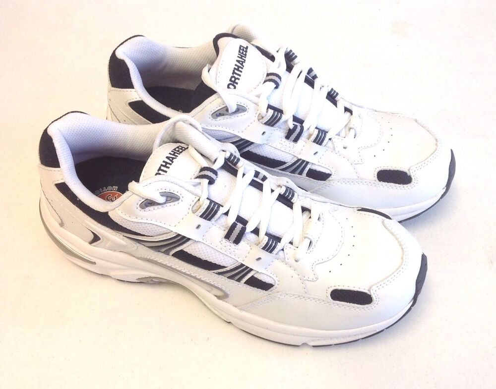 orthaheel s walker white navy leather casual sneakers