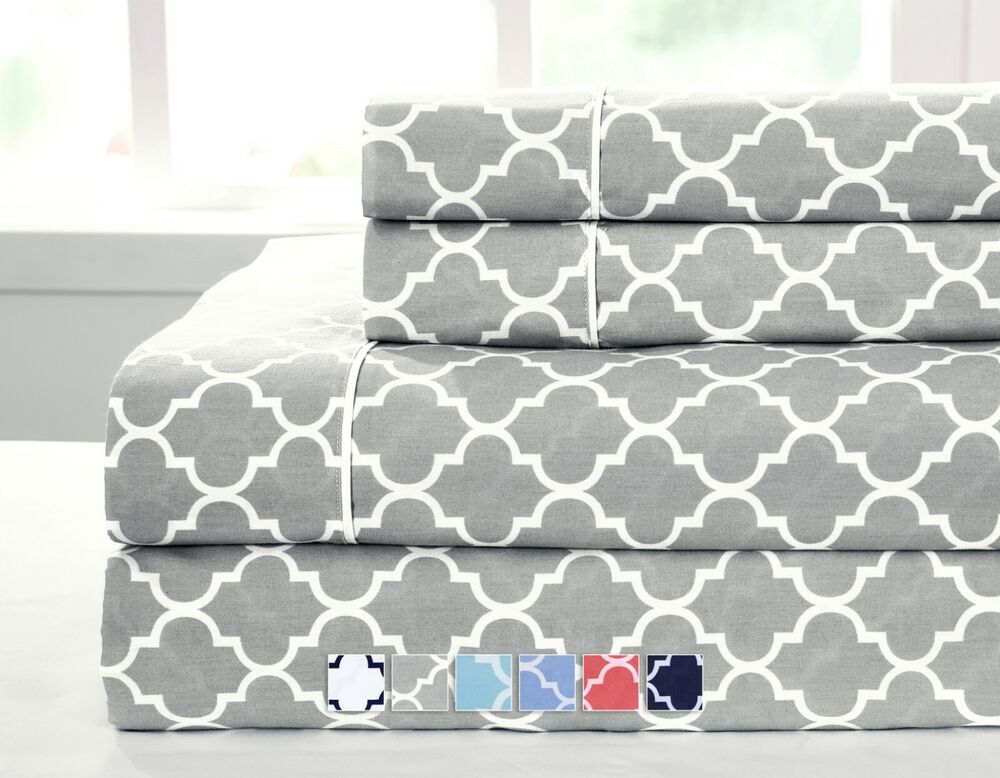 Twin XL Size Bed Sheet Set- Printed Meridian 100% Cotton