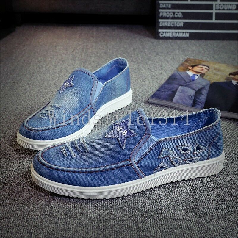 mens denim loafers slip ons canvas shoes sneakers