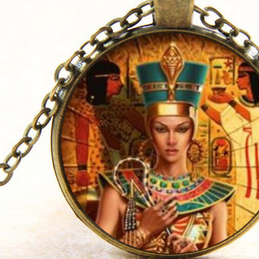 New Cleopatra Egyptian Queen Pendant Necklace Crook And