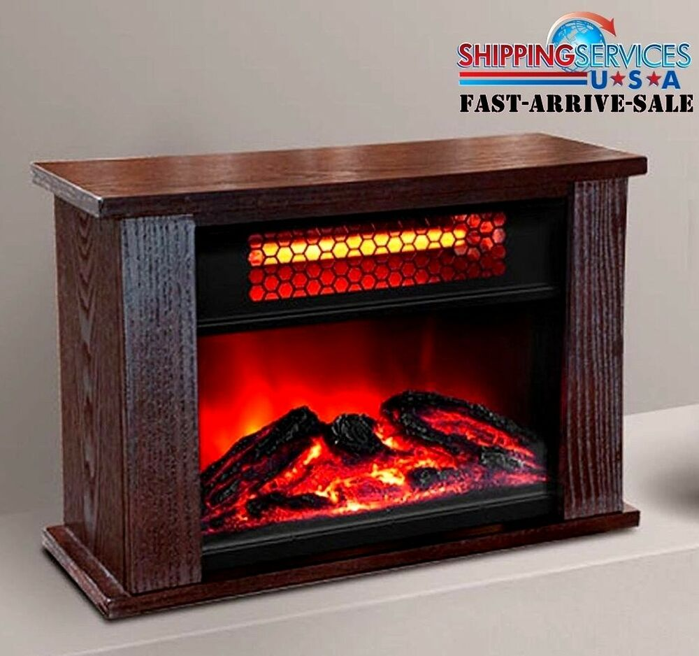 electric fireplace heater insert infrared quartz glass view log flame