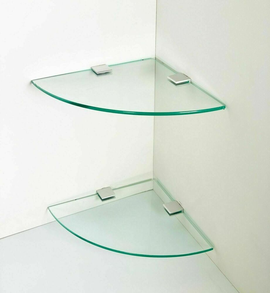 2 glass clear corner book bathroom wall floating storage - Bathroom glass corner shelves shower ...