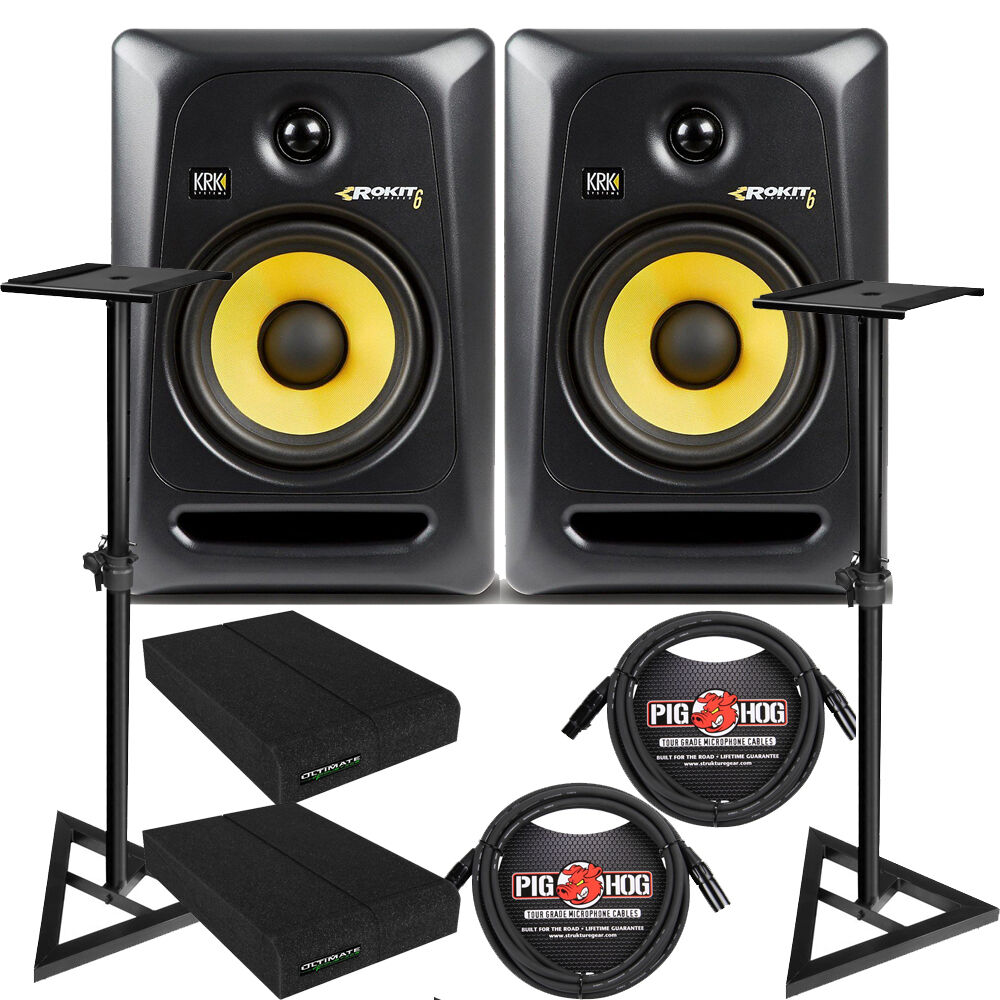 krk rp6g3 rokit 6 g3 6 studio monitor speaker pair stands cables pads ebay. Black Bedroom Furniture Sets. Home Design Ideas