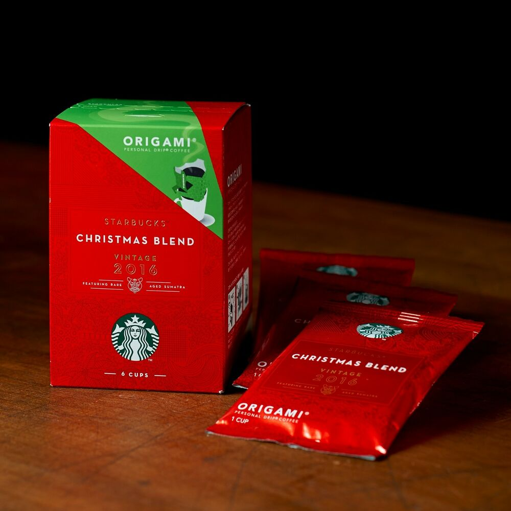 STARBUCKS ORIGAMI Christmas Blend Instant Drip Filter Coffee Bean ...