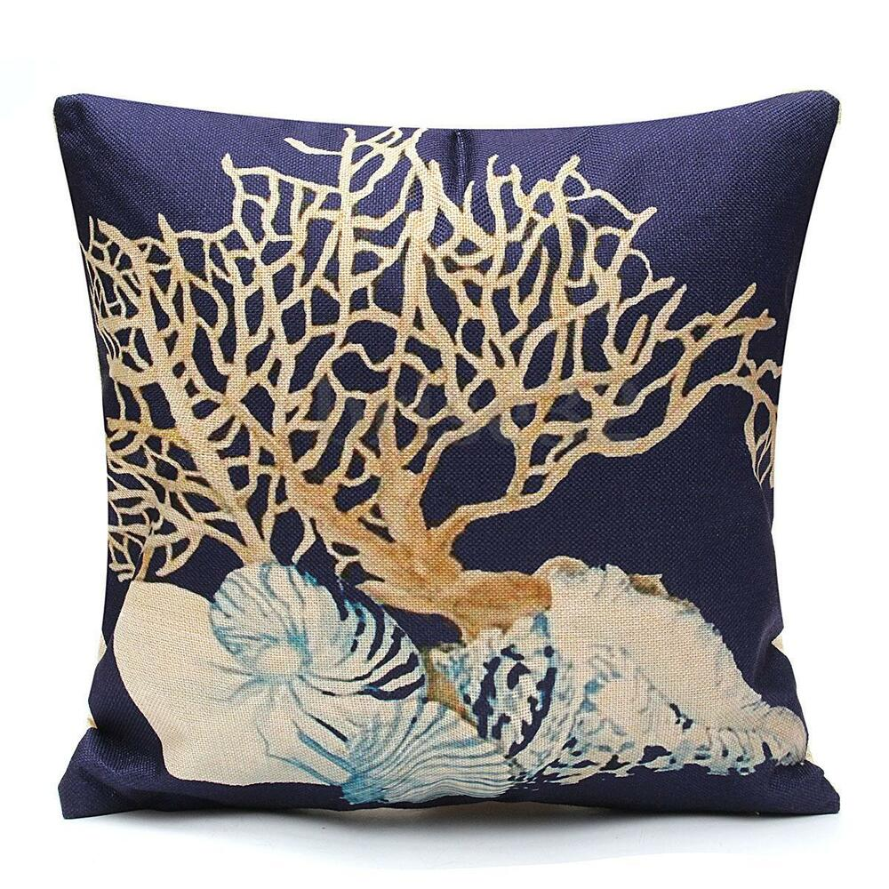 Home Decor Throw Pillow Case Ocean Coastal Beach Nautical