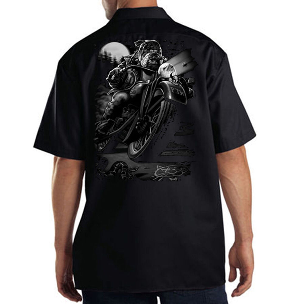Dickies black mechanic work shirt cats suck cool bulldog for Embroidered dickies work shirts