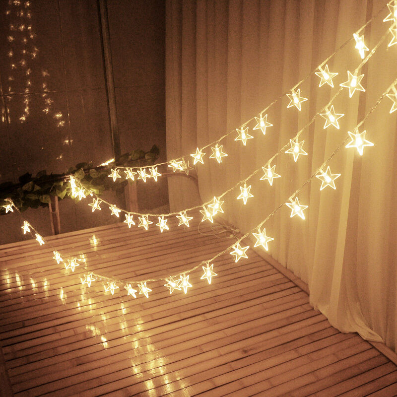 Drawstring Wall Lights : LED Star String Fairy Lights Christmas Xmas Window Wall Decoration 20/40/100 LED eBay