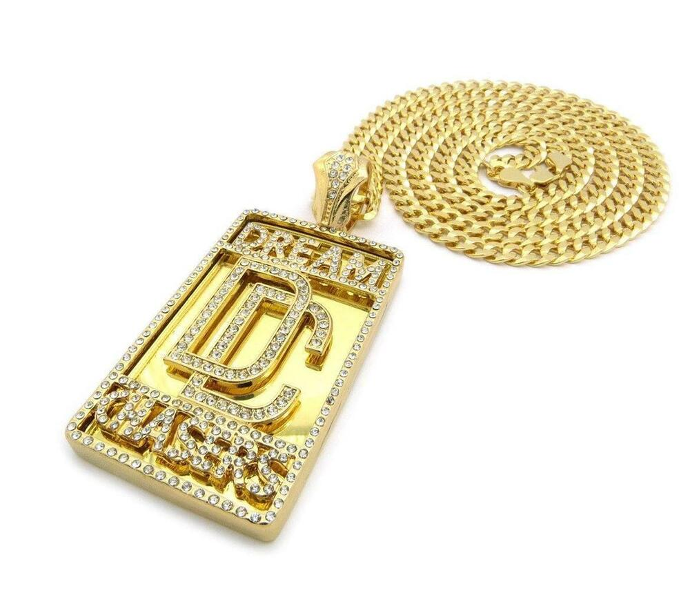 Iced Out Cz Meek Mill Dream Chasers Dc Pendant W 6mm 36
