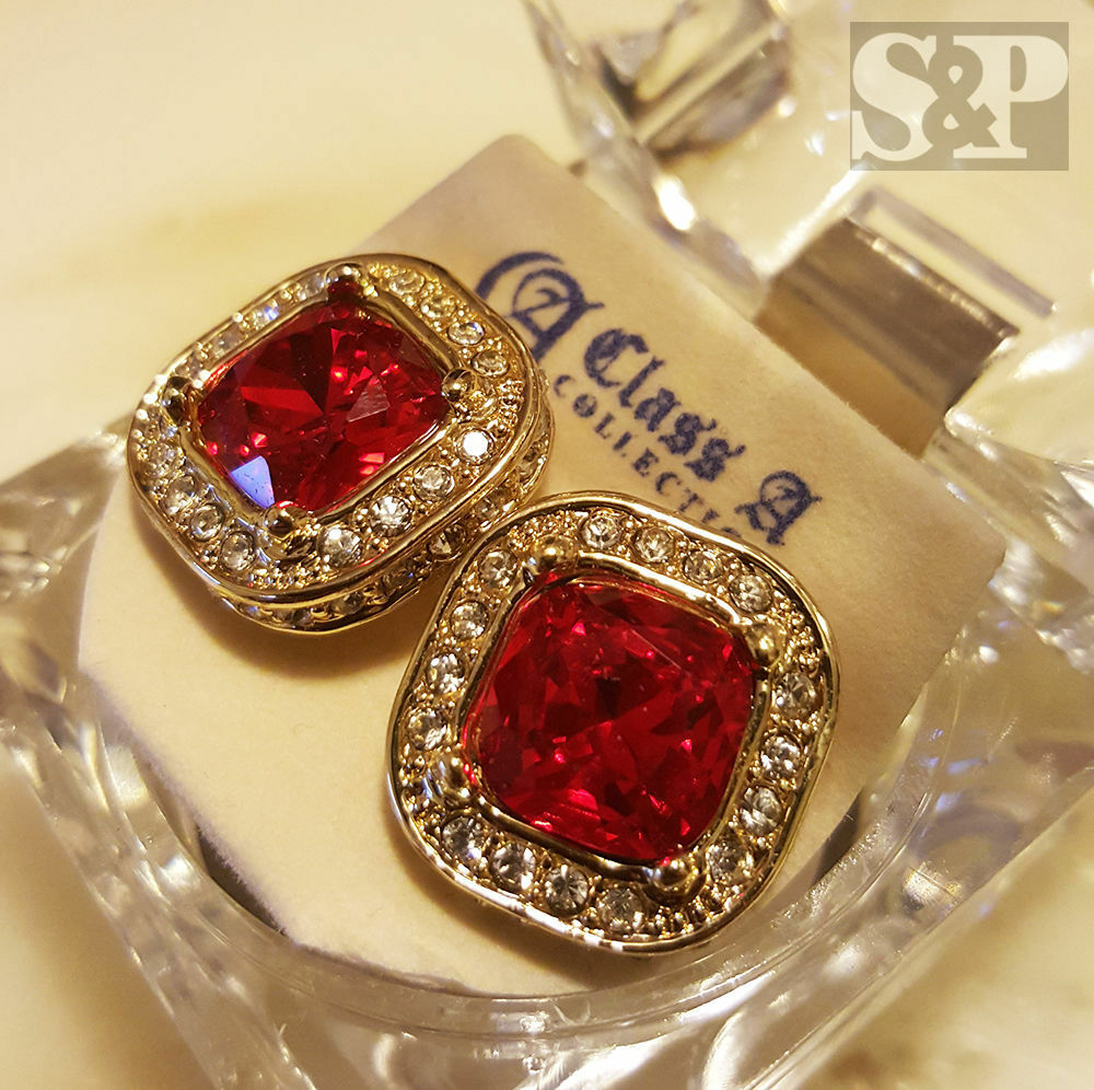 Hip Hop Earrings: Hip Hop Iced Out RICK ROSS Gold Tone Micro Pave Red Ruby