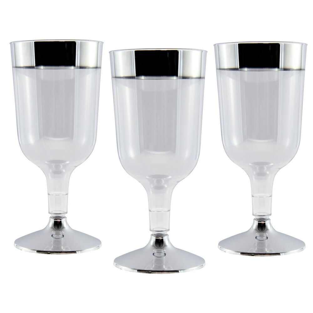 20 X Strong Disposable Plastic Wine Glasses 170ml 6oz