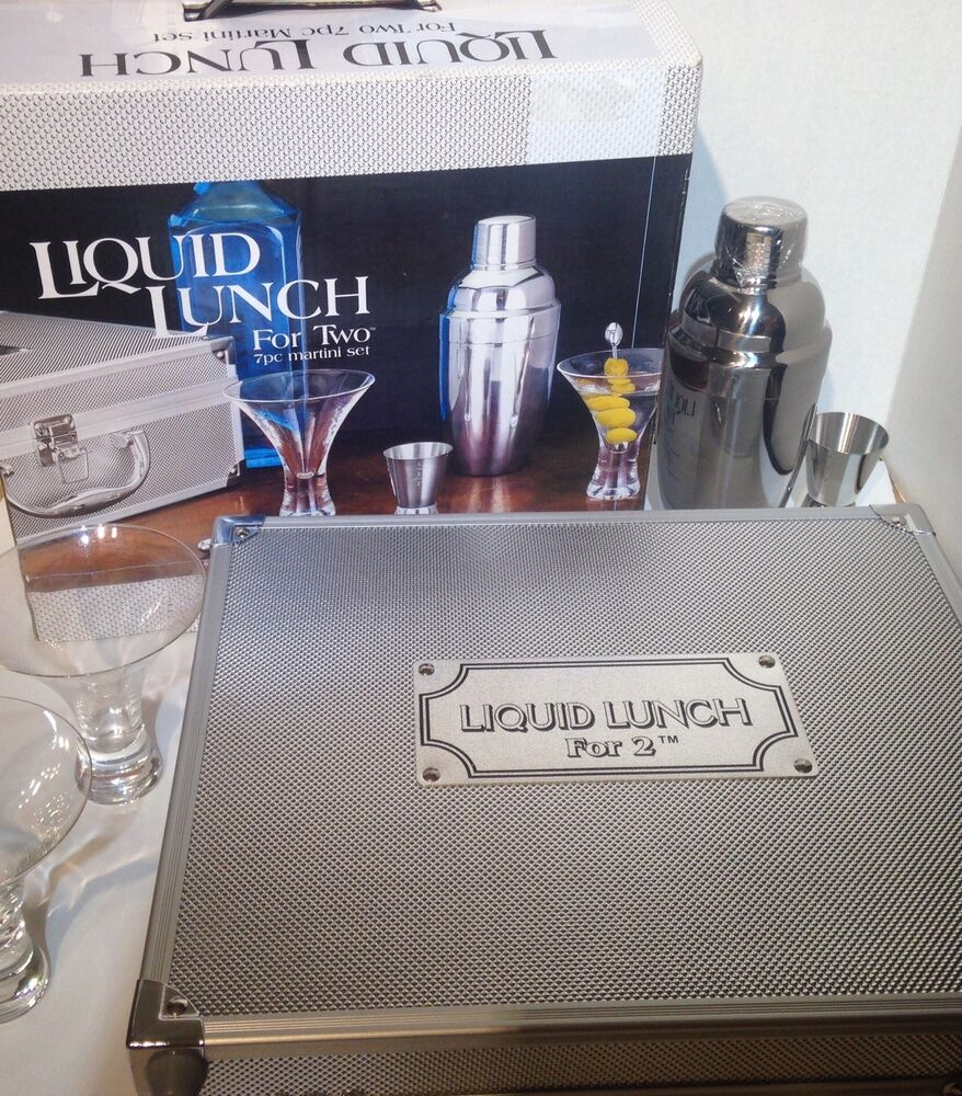 Godinger liquid lunch 7 piece martini set ebay for Decor 7 piece lunch set