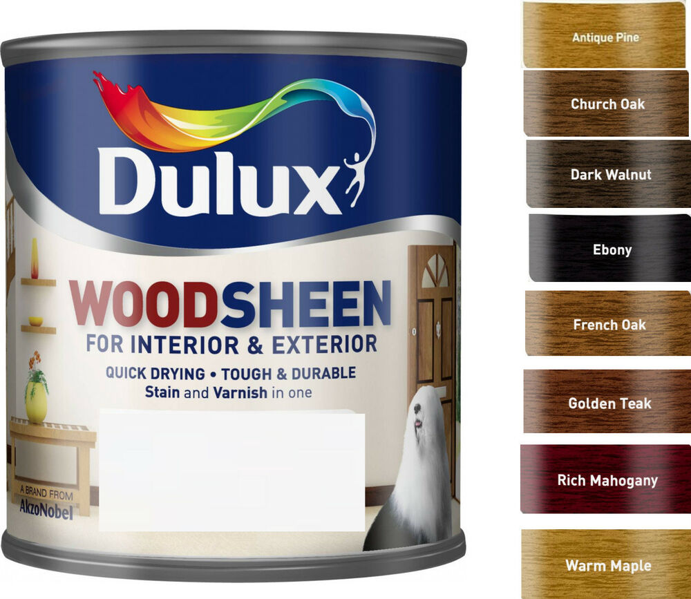 Dulux woodsheen all in one stain varnish 250ml in various colours ebay - Dulux exterior wood paint colour chart pict ...