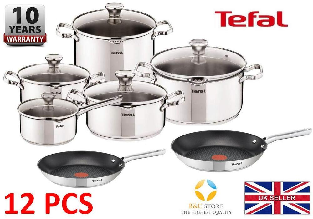 tefal duetto stainless steel cookware set 12 pcs lid pots 24 28 cm pans kitchen ebay. Black Bedroom Furniture Sets. Home Design Ideas