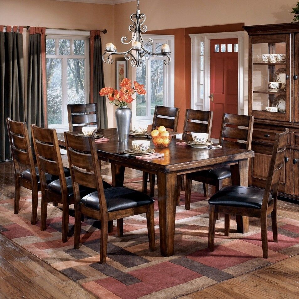 Dining table set for 8 chairs living room furniture indoor for Dining room table and 8 chairs