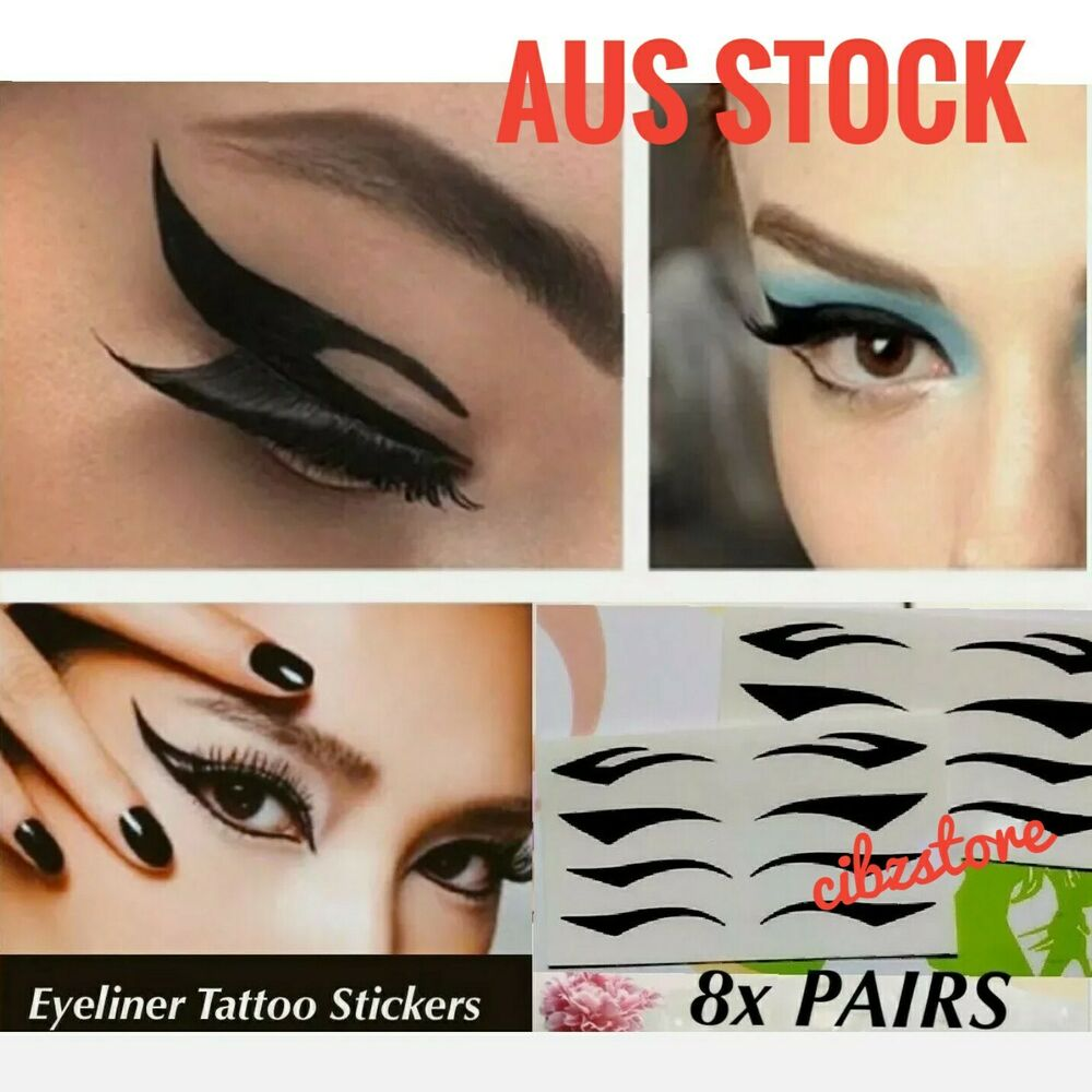 8x Pairs Eyeliner Tattoo Instant Ready To Apply Hot Eye Makeup