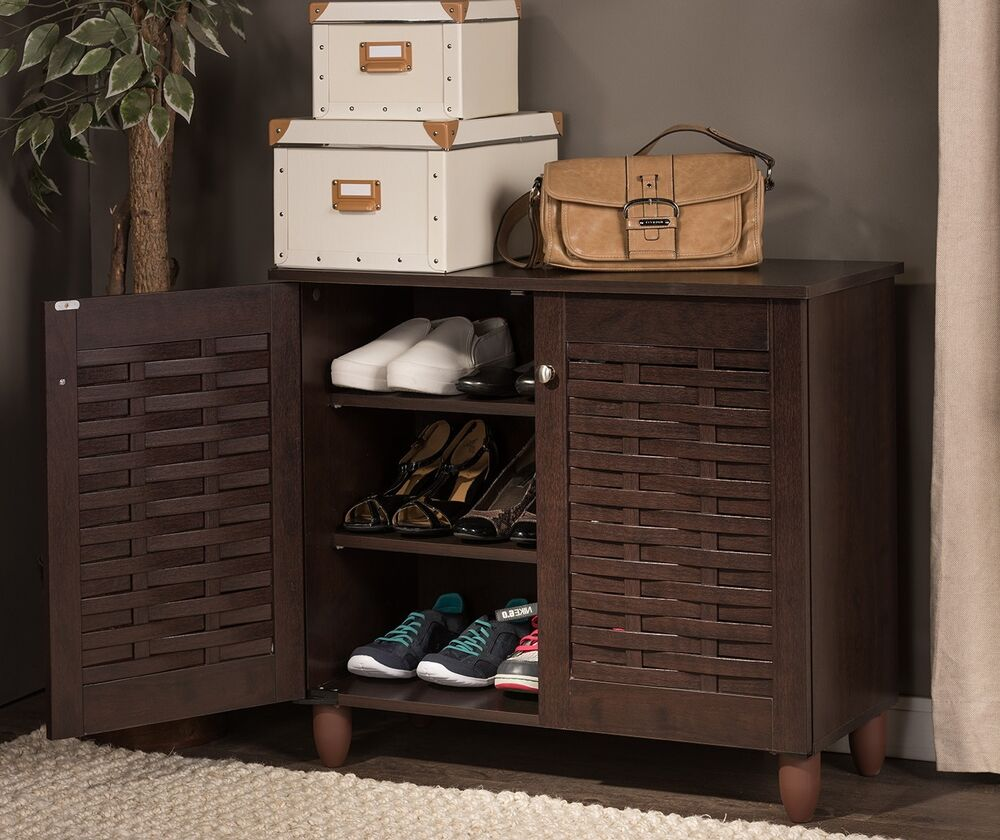 Wood shoe storage cabinet entryway mudroom hall shelf Entryway storage cabinet