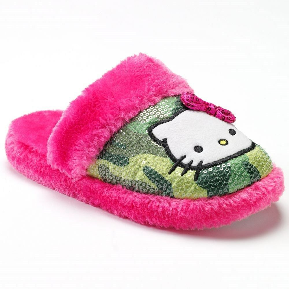 Hello Kitty Pink Camouflage Sequin Slippers Womens Juniors