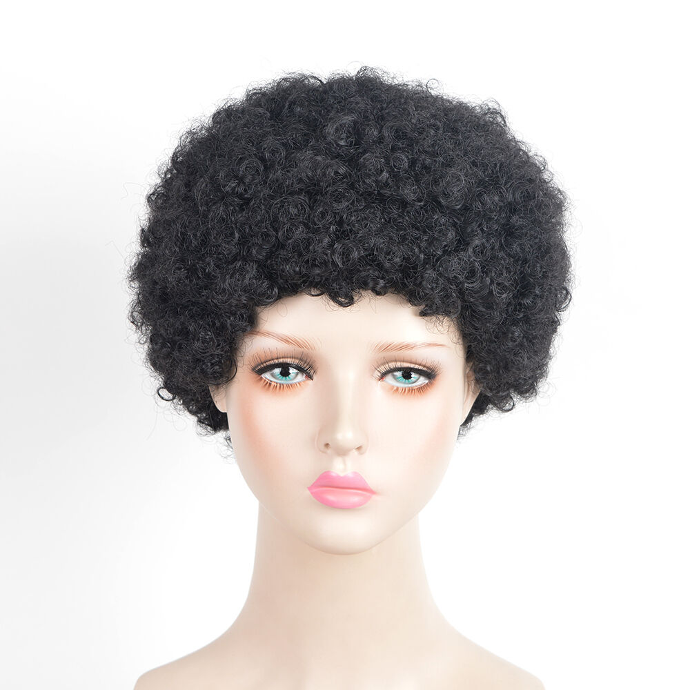 African American Men Afro Curly Hair Short Kinky Black Wigs Fluffy