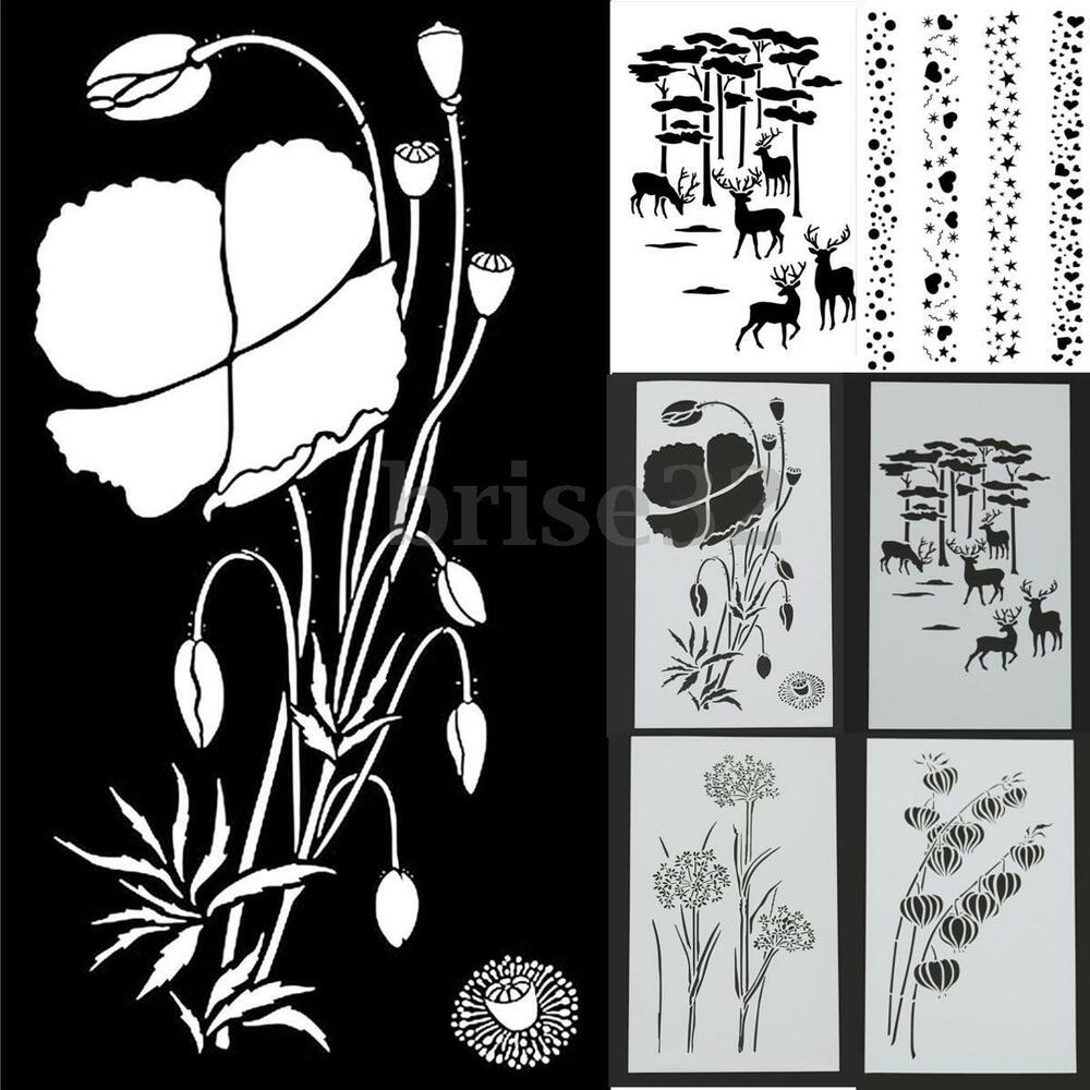 16 Best Diy Stencils Images On Pinterest: Reusable Stencil Airbrush Painting Art DIY Home Decor