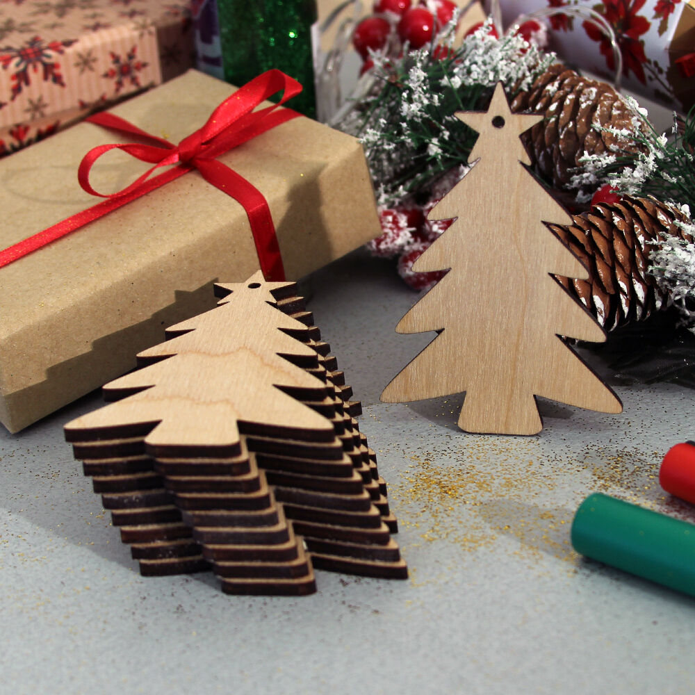 10 Wooden Christmas Tree Craft Shapes Blanks Hanging ...