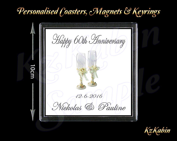 Diamond Wedding Anniversary Gift Ideas Uk : Diamond Wedding 60th Anniversary Personalised Drinks Coaster Gift ...