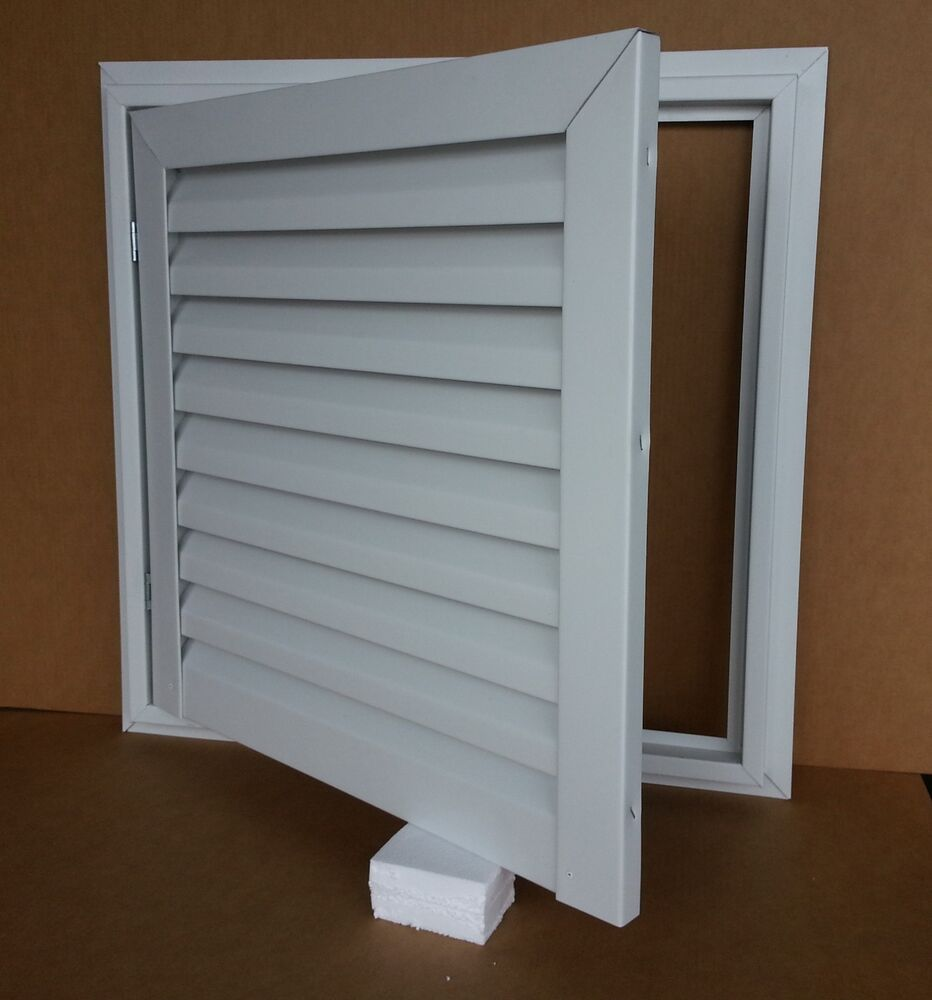 """24"""" WIDE X 24"""" TALL HINGED ALUMINUM GABLE VENT WITH WHITE"""