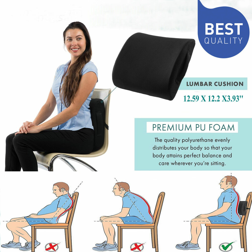 great memory foam seat cushion lumbar back support pillow office home chair car ebay. Black Bedroom Furniture Sets. Home Design Ideas