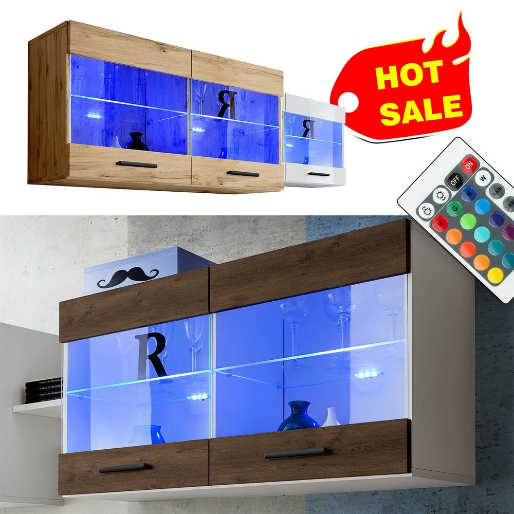 Wall display cabinet unit mounted glass shelves cupboard storage living room led ebay for Glass wall units for living room